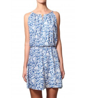 White and blue cotton dress