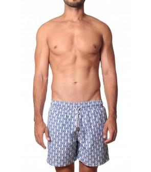 short bañador para hombres azul marino estampado