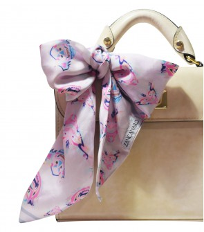 silk scarf neck and purse pink
