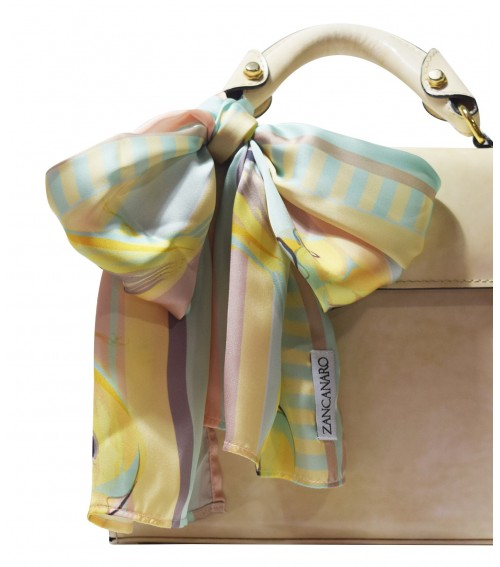 silk scarf purse and neck birds pattern yellow and nude