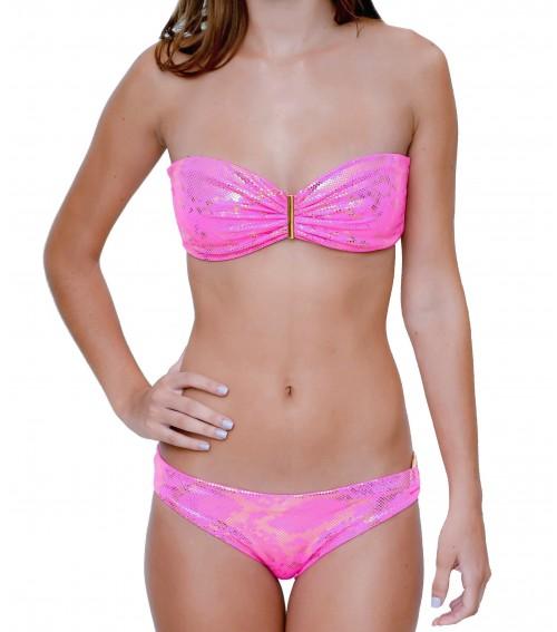 metallic pink bikini with gold plated accesory