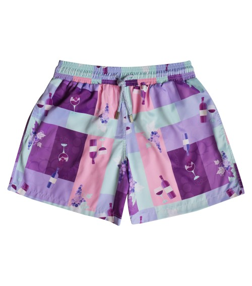 Zancanaro men beach wine and grapes print polyester fir swimshort
