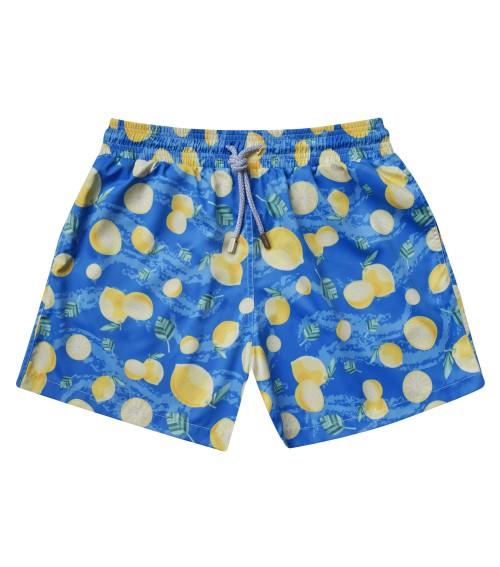 Zancanaro men beach lemon blue print polyester swim short