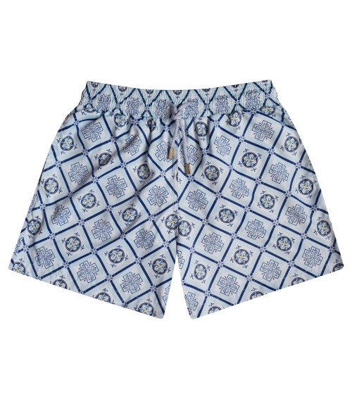 Zancanaro men beach italian blue mosaic print polyester fir swim trunk