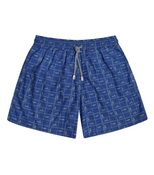 zancanaro men's blue marine ropes swim trunk for the beach unique print polyester