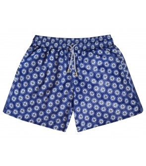 short hombres mosaico italiano estampado divertido color azul