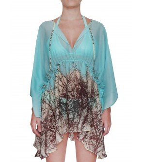 designer cover up tunic aqua blue silk