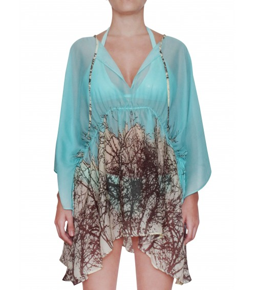 designer cover up tunic aqua blue silk
