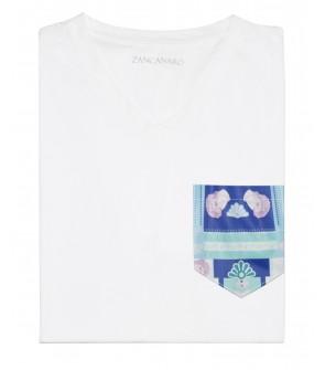 Franela blanca con bolsillo estampada inspiracion italia david