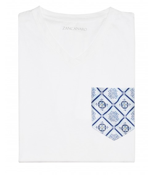 White Pocket T-shirt fun print blue italian mosaic