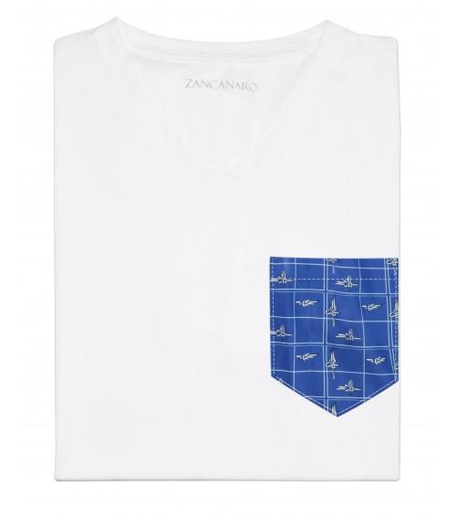White Pocket T-shirt marine ropes print navy blue beach