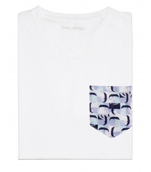 White Pocket T-shirt venetian gondolas print italian inspiration