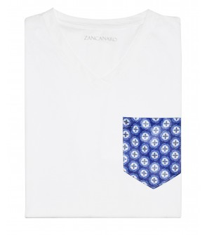 White Pocket T-shirt italian blue mosaic