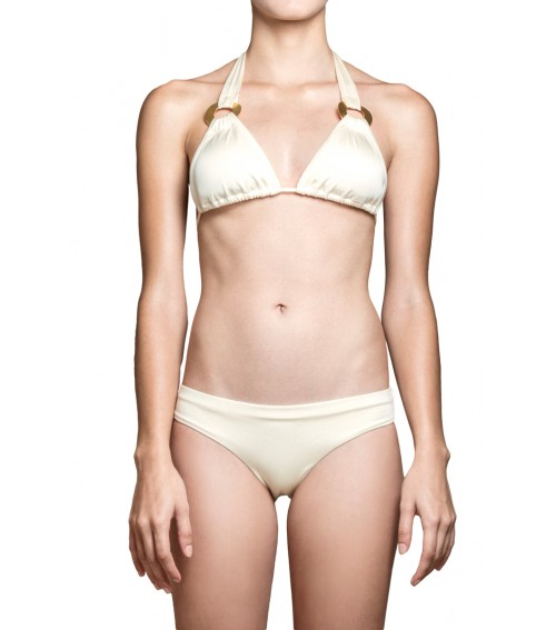 womens pearl white bikini set triangle top gold plated accessory classic bottom