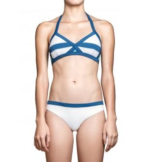 white halter bikini classic cut designer