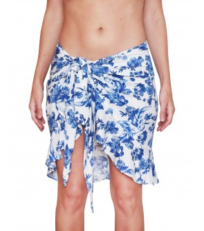 cotton flowers white and blue pareo beachwear