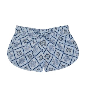 women short italian print mosaico for the beach